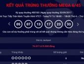 Kết quả Vietlott ngày 20.9: Giải Jackpot tăng lên 76 tỷ đồng