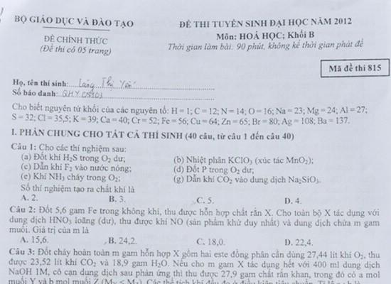 Đề thi môn Hóa khối B 2012 được đánh giá là tương đương với đề thi mọi năm