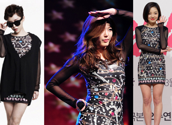 Ga In thêm áo khoác và kính đen để tăng phần cá tính với bộ váy họa tiết còn Serri và Hwang Bora lại gợi cảm khi khoe đường cong.
