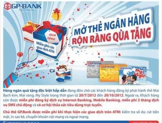 """GP.Bank khuyến mãi """"Mở thẻ ngân hàng, rộn ràng quà tặng"""""""