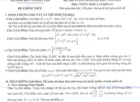 Đề thi môn toán khối A