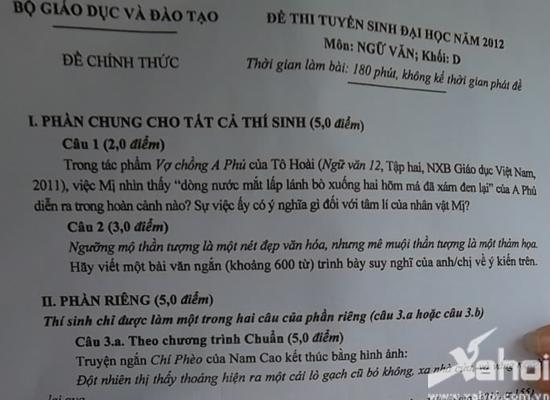 Đề thi môn Ngữ văn khối D - 2012