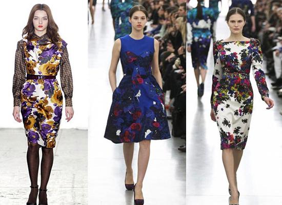 Họa tiết hoa lá tràn ngập các bộ sưu tập trong tuần lễ thời trang thu đông New York và London.