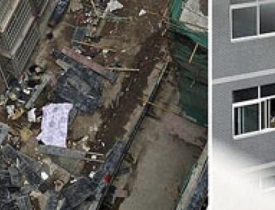 Wang Lu nhảy lầu tự tử từ tầng 28 và rơi trúng người bà Gao đang làm việc trước tòa nhà. (Ảnh: Europics.at)