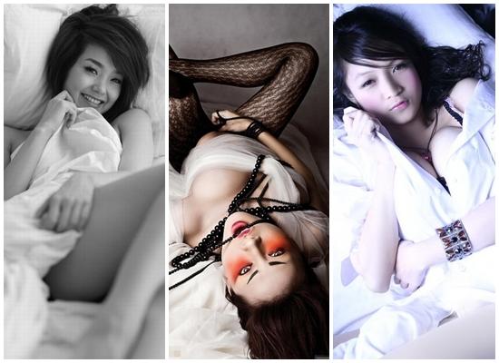 Minh Hằng, Ngô Thanh Vân và Thủy Top tạo dáng nằm rất khêu gợi.