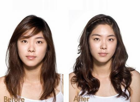 Trước (trái) và sau khi làm tóc