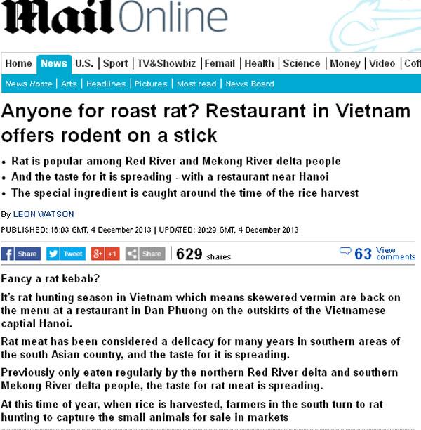 Báo nước ngoài 'phát sốt' với món thịt chuột tại Hà nội | Thịt chuột Hà Nội, Báo nước ngoài, Báo Anh, Dailymail, Đặc sản, Ẩm thực Hà Nội