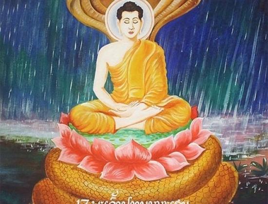 Rắn che mưa cho Đức Phật thiền. Ảnh: Wikipedia