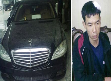 Nguyễn Ngọc Hà và chiếc xe Mercedes bị cướp.