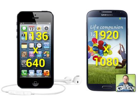 Màn hình của S4 lớn hơn iPhone 5