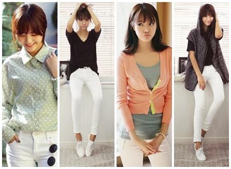 Những cách kết hợp đồ với quần trắng đẹp cho bạn gái