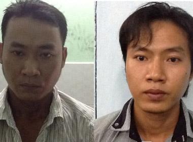 Hai đối tượng Trần Huỳnh Long và Trần Minh Luân tại cơ quan điều tra (ảnh công an cung cấp)