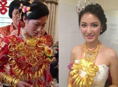 Những cô dâu gây sốt trên mạng vì đeo quá nhiều vàng.