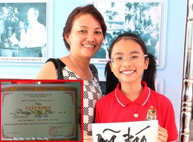 Phương Mỹ Chi đoạt giải viết chữ đẹp dập tin nghỉ học