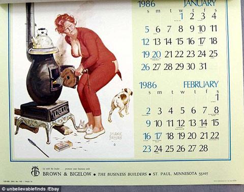 Một bộ lịch của năm 1986 được rao bán trên eBay với giá 21,99 USD.