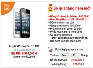 iPhone 5 giảm giá tới 33%