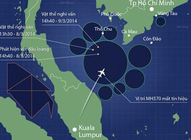 Vị trí các vùng tìm kiếm MH370