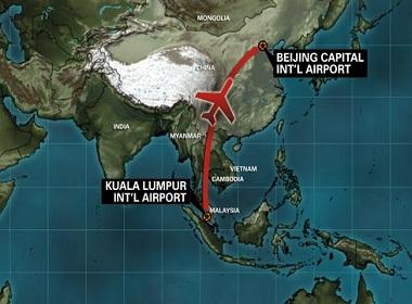 Lộ trình của máy bay Malaysia bị mất tích