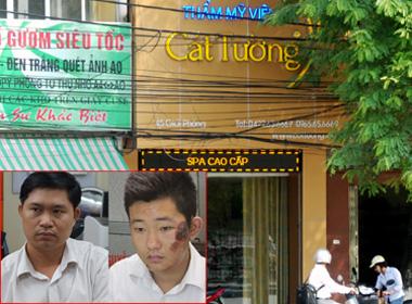 Nguyễn Mạnh Tường (giám đốc Thẩm mỹ viện Cát Tường) cùng bảo vệ Khánh