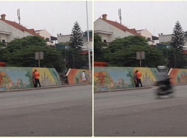 Bức ảnh đôi nam nữ 'yêu' bên đường Yên Phụ gây xôn xao