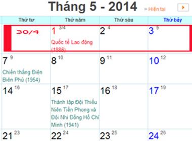 Lịch nghỉ lễ 30/4 -1/5 năm 2014