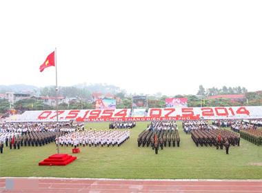 Hình ảnh sơ duyệt diễu binh Điện Biên Phủ ngoài đường phố