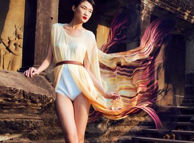 Kha Mỹ Vân tung tẩy váy lụa mềm tại Campuchia
