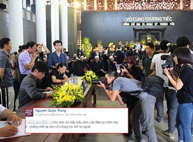 Quốc Trung bức xúc với phóng viên 'kền kền' ở đám tang NS Thuận Yến