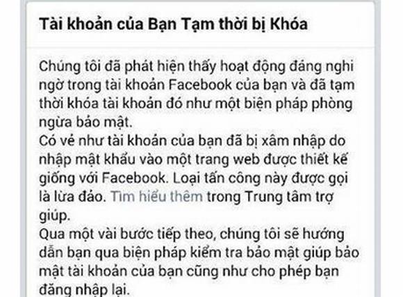 Hàng loạt Facebook tại Việt Nam bị khóa tài khoản