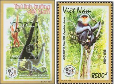 Phát hành bộ tem Thú linh trưởng để bảo vệ động vật quý hiếm