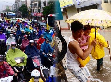 Giao thông Hà Nội tê liệt vì mưa lớn