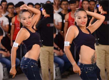 Vietnam's next top model 2014: Thí sinh khoe hình xăm giữa đám đông
