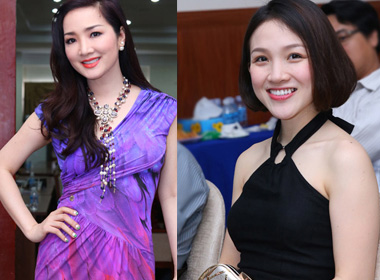 Giáng My đọ sắc cùng vợ Phan Đinh Tùng