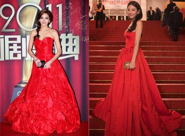 Những mẫu váy đỏ ấn tượng của sao châu Á