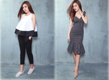 Á Khôi Tăng Huỳnh Như mix trang phục trắng đen tối giản