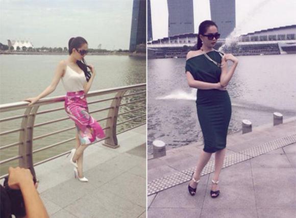 Tiết lộ ảnh hậu trường Ngọc Trinh thả dáng ngọc ở Singapore