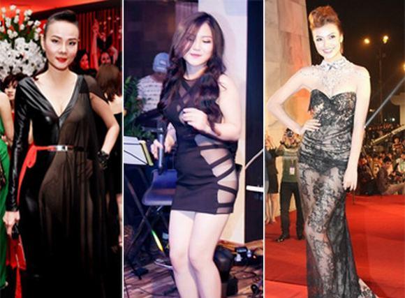 Những trang phục xuyên thấu 'nóng mắt' của sao Việt