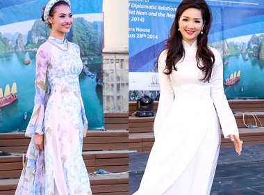 Hồng Quế, Khánh My đọ sắc với thời trang áo dài