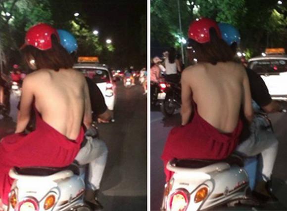 Thiếu nữ ngang nhiên 'lộ thiên' phần nhạy cảm ngay trên phố
