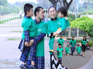 Hùng Cửu Long cùng gia đình diện áo dài chạy bộ