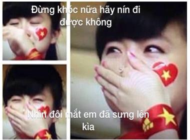 Ảnh chế 'Crying girl' gây sốt trong trận đấu giữa U19 Việt Nam và U91 Nhật Bản