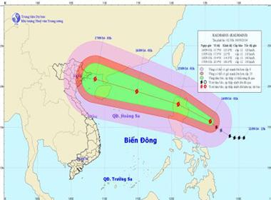 Bão Kalmaegi ập đến Biển Đông giật cấp 16,17