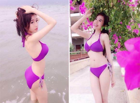 Elly Trần tiếp tục khoe vòng 1 'trứ danh' với áo tắm tím mộng mơ