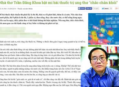 Chuyên gia nói gì về bài thuốc trị ung thư của nhà thơ Trần Đăng Khoa
