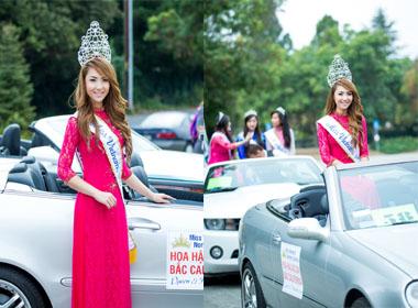 Hoa hậu Jennifer Chung diện áo dài Việt diễu hành tại thành phố Newark