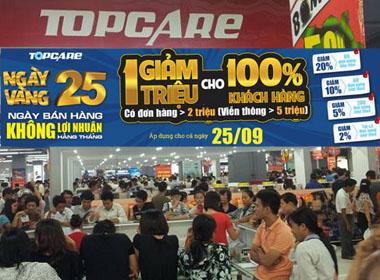 Topcare giảm giá trong 'ngày vàng 25/9' cho 100% khách hàng