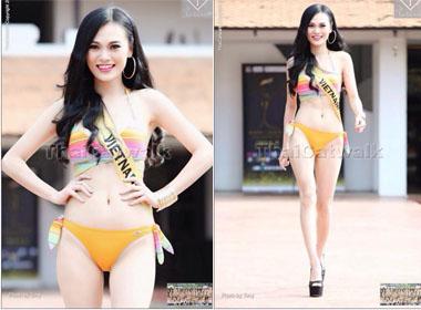 Mặc scandal thi 'hoa hậu chui', Cao Thuỳ Linh gợi cảm với phần thi áo tắm