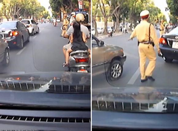 3 xe hơi bị phạt vì né cảnh sát giao thông