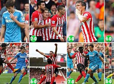 6 trận thắng đậm nhất kỷ nguyên Premier League