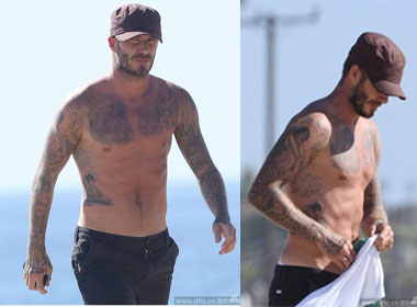 Beckham khoe trọn body săn chắc hấp trên bãi biển